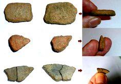 Piezas de cerámica halladas en lo que se supone el poblado asociado a las minas (Gondomar, Pontevedra)