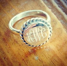 Our #1 selling ring is this weeks Deal Of The Week!!! $47 through Sunday 6/22. #dealoftheweek #monogramring #threehipchicks