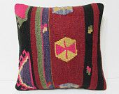 "Turkish cushion 18"" sofa throw pillow kilim pillow cover decorative pillow case couch outdoor floor bohemian boho ethnic rustic accent 21820"