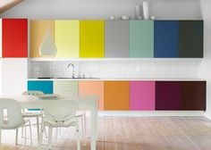 Last but not least, a burst of color! This is great way to modify ugly old cabinets or inexpensive ones from Ikea.