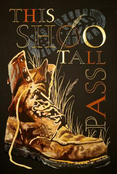 """This Shoo Tall Pass"" by Julia Silbermann  It is gouache and gold leaf on black water color paper. All colored areas have a white underpainting with Dr. Martin's Bleedproof White. The piece was done in several layers, that were treated with sprayfix. The gold leaf on the letters S, O and T was laid on a base of Instacoll."