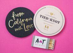 Wedding drink coasters | 100 Layer Cake | photo by Edyta Szyszlo