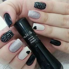 New Collections of Best Valentine's Day Nail Art Design Heart shape always plays an important role in nail art designs. When you have a nail art ideas Nail Art Designs, Black Nail Designs, Nails Design, Polka Dot Nails, Polka Dots, Manicure E Pedicure, Heart Nails, Cute Acrylic Nails, Nail Decorations
