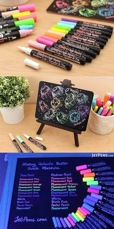 Create attractive chalkboard art that grabs people's attention. These bright Marvy Uchida Bistro Chalk Markers are fantastic for writing vibrant menus and other signage on whiteboards, light boards, windows, windshields, and other non-porous surfaces. Stationary School, Cute Stationary, School Suplies, Cool School Supplies, Study Room Decor, Chalk Markers, Too Cool For School, Chalkboard Art, Cool Things To Buy