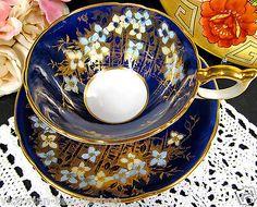 AYNSLEY-TEA-CUP-AND-SAUCER-COBALT-BLUE-GOLD-GILT-FLORAL-TEACUP-ATHENS