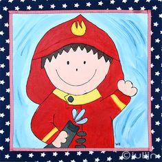 De brandweerman, geschilderd op een stof met een blauwe ster. Zelf ontworpen en handgemaakte schilderijen op www.julijn.nl