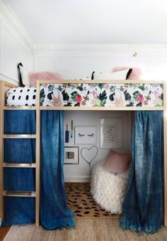 Revealing my daughter's new Loft Bed and her fancy new room on the site toda. - Revealing my daughter's new Loft Bed and her fancy new room on the site toda. Dorm Room Designs, Room Design Bedroom, Girl Bedroom Designs, Room Ideas Bedroom, Bedroom Loft, Loft Room, Baby Bedroom, Loft Bed Dorm, Loft Bed With Curtains