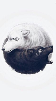 Yin and Yang wolf tattoo. This is very unique! The white wolf representing the good side and appearing to be peaceful, while the evil side (the black wolf) is looking angry or as if it is attacking something. Yin Yang Tattoos, Wolf Tattoos, Tatuajes Yin Yang, Body Art Tattoos, Tattoo Ink, Future Tattoos, Fantasy Art, Fantasy Wolf, Art Drawings