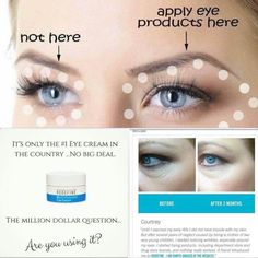 Are you applying Rodan+Fields Multifunction Eye Cream correctly? For best result Apply the eye cream 1 inch below and 1 inch above the area that you're trying to treat. The cream moves as its absorbed.Our Multifunction Eye Cream is in high demand. Are you using our amazing eye cream? It is all about the eyes, let's place your order today. I can save you 10% become a preferred customer mklecro.myrandf.comy