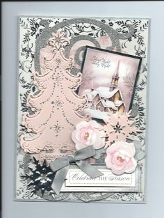 GORGEOUS! Pink Christmas card for 2014 using Anna Griffin dies, paper & flowers. By Sandi http://instagram.com/p/m28lITPJRR/?modal=trueo