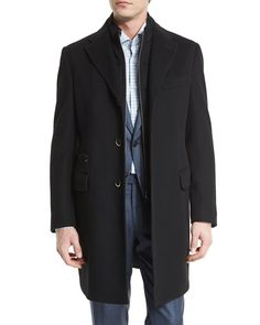 ID Classic Solid Car Coat with Removable Gilet, Black - Corneliani