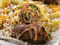 Use thinly sliced Inside Round Steak that you tenderize on just one side. Look for these pre-cut thin steaks at the meat counter. Use jarred roasted red peppers for the roasted red pepper strips in the recipe as a shortcut. Pork Meat, Beef Steak, Gluten Free Recipes, Beef Recipes, Meat Rolls, Italian Beef, Roasted Red Peppers, Romantic Dinners, Thin Steaks