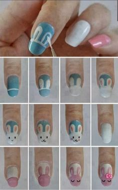 Easter İdeas 432908582933385331 - Makeup – Nails: bunny tutorial, easter / Maquillage – Ongles: tutoriel lapin, pâques Source by aurlieboix Nail Art Designs, Easter Nail Designs, Nails Design, Fingernail Designs, Spring Nail Art, Spring Nails, Spring Art, Summer Nails, Cute Nail Art
