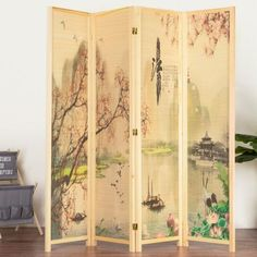 Bamboo Room Divider Privacy Screen Paravent Partition Roll Folding Wall Natural