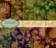 Gold Floral Scroll Digital Paper by Origins Digital Curio on @creativemarket
