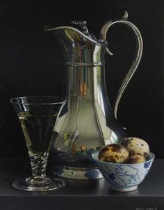 Jessica Brown. Still life with Tall Silver Wine Jug and Quails Eggs
