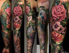 floral sleeve tattoos - Pesquisa Google