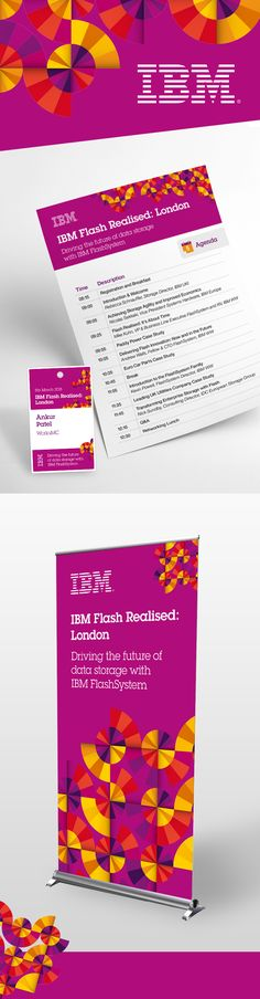 IBM event collateral - flyer, name badge and pull-up banner