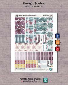 FREE planner stickers Ruby's Garden - Free Planner Sticker Weekly Kit - Sepiida Prints