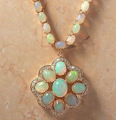 ESTATE 33.48CTW NATURAL OPAL AND DIAMOND NECKLACE IN 14K SOLID YELLOW GOLD