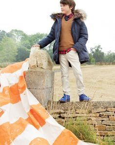 J.Crew hooded parka and Collection v-neck sweater.  Photo Mei Tao Cotswolds, England