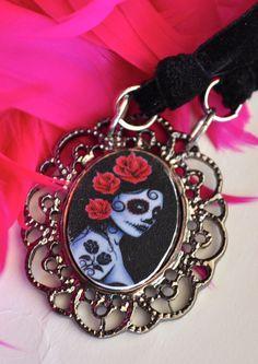 Rosa  Velvet Ribbon Choker with Sugar Skull by toolittlemonsters, $12.00