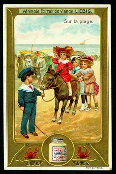 1907.  Sur la plage (On the beach:  Donkey ride) trading card issued by Liebig Extract of Beef Company.  S913.