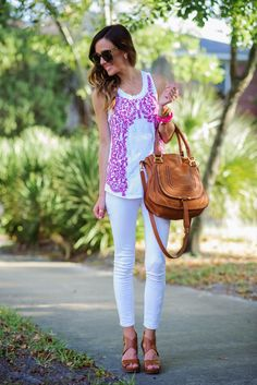 white skinnies + white embroidered tank + cognac wedges and bag