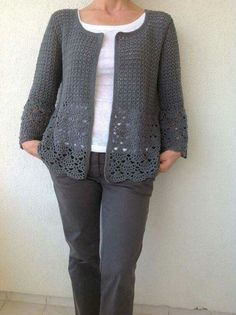 Women Crochet Cardigan/Gray Crochet Jacked/Crochet Cotton Cardigan/Gray Cotton Crochet Cardigan Women Le donne Crochet Cardigan/Gray Crochet Jacked/uncinetto cotone Always aspired to learn how to knit, although uncertain h. Gilet Crochet, Crochet Cardigan Pattern, Crochet Jacket, Vest Pattern, Crochet Blouse, Crochet Poncho, Cotton Crochet, Knit Patterns, Cardigan Gris