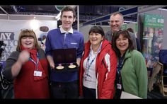Michael McKillop with Leckey CEO James Leckey and the ladies from NHS