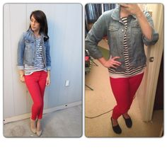 Jean Jacket-Old Navy Navy Striped Top-Marshall's Red Jeans-Gap Outlet Navy Toms