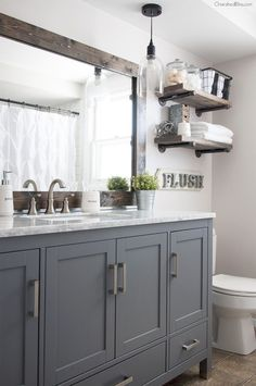 Home Decor Ideas Ikea This Industrial Farmhouse Bathroom is the perfect blend of styles and creates such a cozy atmosphere!Home Decor Ideas Ikea This Industrial Farmhouse Bathroom is the perfect blend of styles and creates such a cozy atmosphere! Bad Inspiration, Bathroom Inspiration, Bathroom Inspo, Bathroom Theme Ideas, Mirror Inspiration, Bathroom Styling, Interior Design Minimalist, Modern Interior, Modern Farmhouse Bathroom