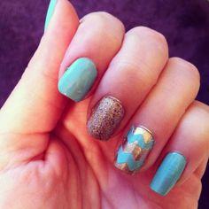 Teal n gold sparkle n chevron nails