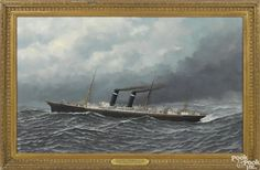 Antonio Jacobsen (American 1850-1921), oil on board of the American steam ship Philadelphia - Price Estimate: $5000 - $7000