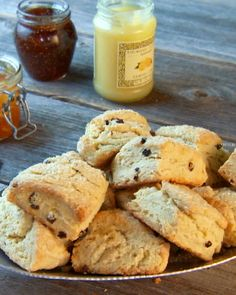 Currant Scones - just like in England.  I found clotted cream in my local grocery to go with it!