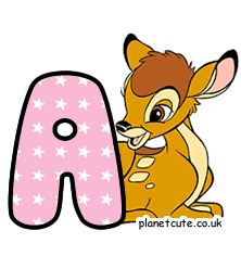 Planet Cute - Alphabet - Bambi - Image Bambi, Disney Letters, Cute Alphabet, Letters And Numbers, Dreamworks, Pixar, Winnie The Pooh, Pikachu, Disney Characters