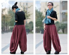 Women autumn and winter cotton linen thickened pants - Buykud- 5