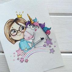 Printable Greeting Card by Morozova Marie Art And Illustration, Unicorn Art, Disney Drawings, Easy Drawings, Doodle Art, Cute Art, Drawing Sketches, Painting & Drawing, Watercolor Art
