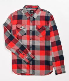 Throw some color into your cozy looks with the Box red and black flannel shirt from Vans. A red, black and grey plaid pattern lends a sick, modernized lumberjack look, while the comfy cotton construction keeps you warm and snuggly all day long. Black Flannel Shirt, Red And Black Flannel, Red Black, Black And Grey, Flannels, Plaid Pattern, Sick, Vans, Men Casual
