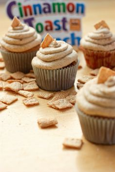 cinnamon toast crunch cupcakes. wes is going to love them.