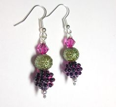 Earrings Fuchsia Purple Berries Bumpy Pearls by SpiritCatDesigns, $5.99