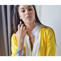 Spring 10 Off Mariam Style Yellow Caftan Kaftan Perfect Ramadan Eid... ($82) ❤ liked on Polyvore featuring dresses, grey, women's clothing, long kaftan, long caftan and yellow kaftan