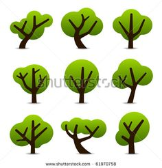 Set of 9 tree icons - stock vector