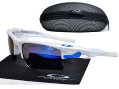 Oakley Fast Jacket Sunglasses polished white frames blue Iridium