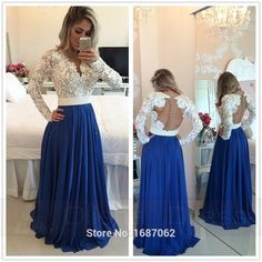 Royal Blue Lace V Neck Popular Evening Dress with Long Sleeve Pearl Belt Long Prom Dresses - Google Search
