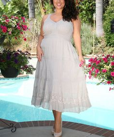 Another great find on #zulily! Gray Diamond Eyelet V-Neck Dress - Plus by Ananda's Collection #zulilyfinds