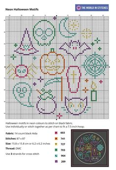 Use these bright Halloween themed motifs individually, or stitch together as per the chart. Use three strands of thread on black Aida to really make the colours pop. Fall Cross Stitch, Cross Stitch Beginner, Free Cross Stitch Charts, Cross Stitch Freebies, Cross Stitch Bookmarks, Mini Cross Stitch, Beaded Cross Stitch, Simple Cross Stitch, Cross Stitch Samplers