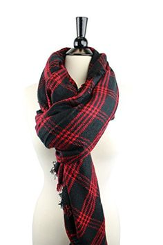 Pop Fashion Women's Oversized Blanket Scarf with Ultra Soft Feel and Plaid Printed Design (Red, Black)