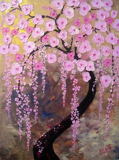 ok OILS__ITEM 4 Canvas Print Of Original Oil Painting Tree of Life Pink Cherry Blossoms - signed. $95.00, via Etsy.