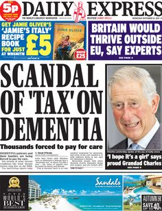 Daily Express front page, 10/9/14